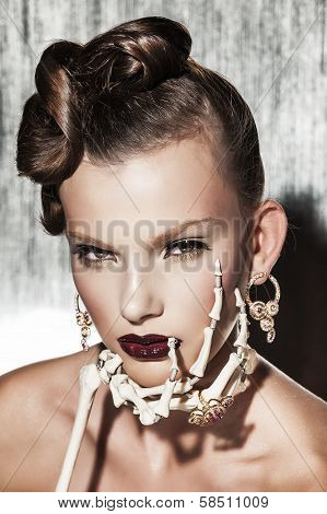 Surrealistic fashion portrait of woman