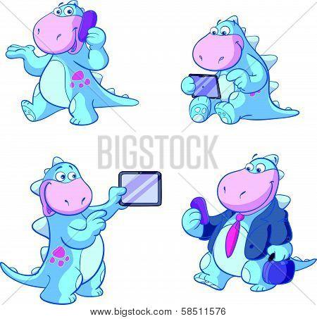 cute blue dino business set