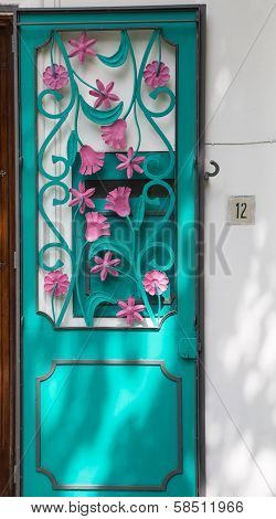 Pink And Aqua Door