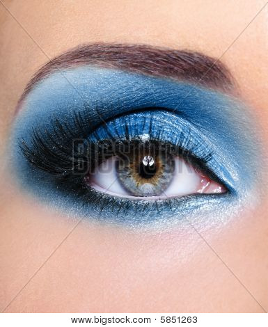Blue Glamour Make-up Of Woman Eye