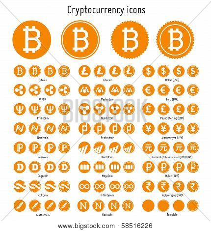 Cryptocurrency vector icons