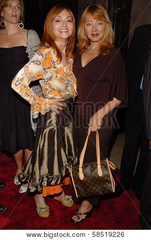 HOLLYWOOD - AUGUST 15: Judy Tenuta and Andrea Evans at the Los Angeles Premiere of Dirty Rotten Scoundrels on August 15, 2006 at Pantages Theatre in Hollywood, CA.