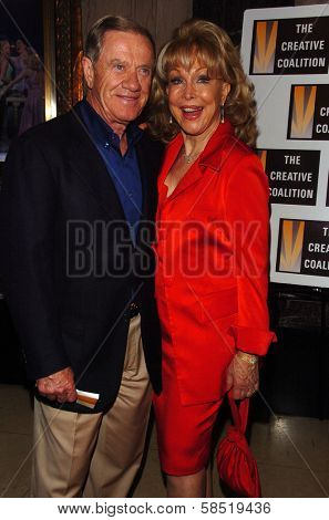 HOLLYWOOD - AUGUST 15: Barbara Eden and husband Jon at the Los Angeles Premiere of Dirty Rotten Scoundrels on August 15, 2006 at Pantages Theatre in Hollywood, CA.