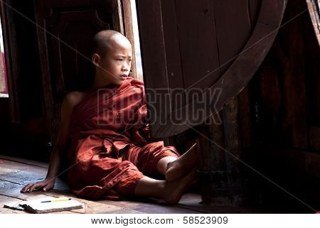 Novice At Shwe Yan Phe Monastery