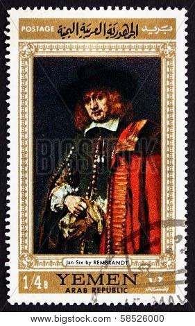 Postage Stamp Yemen 1968 Jan Six, Painting By Rembrandt