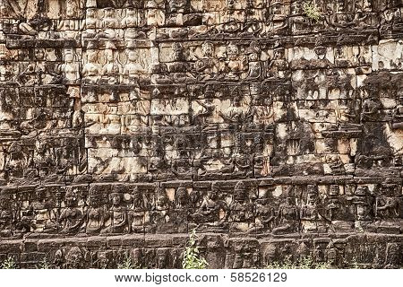 Carvings On The Leper King Terrace
