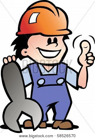 Hand-drawn Vector Illustration Of An Happy Mechanic Or Handyman