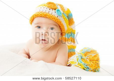 Newborn portrait in woolen cap