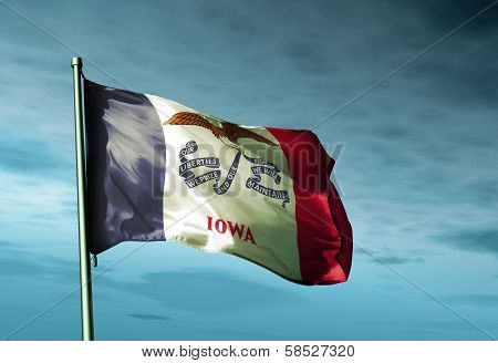 Iowa (USA) flag waving on the wind