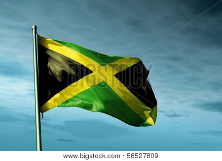 Jamaica flag waving on the wind