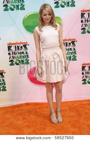 Emma Stone at the 2012 Nickelodeon Kids' Choice Awards, Galen Center,  Los Angeles, CA 03-31-12