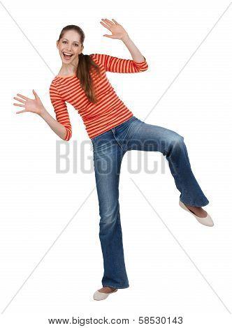 Cheerful Woman In Jeans Having Fun