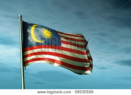 Malaysia flag waving in the evening