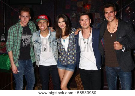 Kendall Schmidt, Carlos Roberto Pena Jr., Victoria Justice, Logan Henderson, James Maslow at the Big Time Rush Press Conference And Tour Announcement , House of Blues, West Hollywood, CA 04-01-13