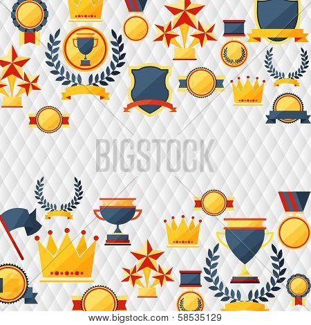 awards and trophies  icons background.