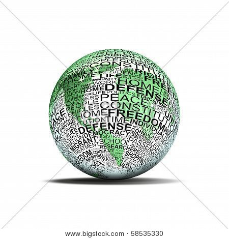 Green Planet Earth With Human Rights Words