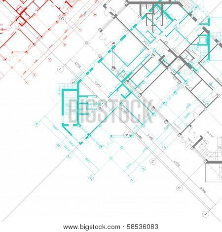 Vector architectural background with plans