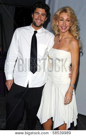 LOS ANGELES - APRIL 12: Brandon Jenner and Linda Thompson at the 3rd Annual Bodog Celebrity Poker Invitational at Barker Hangar on April 12, 2006 in Santa Monica, CA.