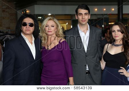 Gene Simmons and Shannon Tweed with Nick Simmons and Sophie Simmons at the