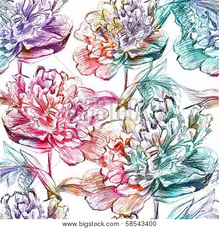 Seamless pattern with flowers. Vector, EPS 10