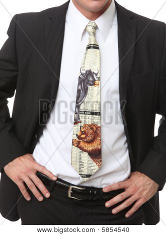 Business Man And Stock Market Tie