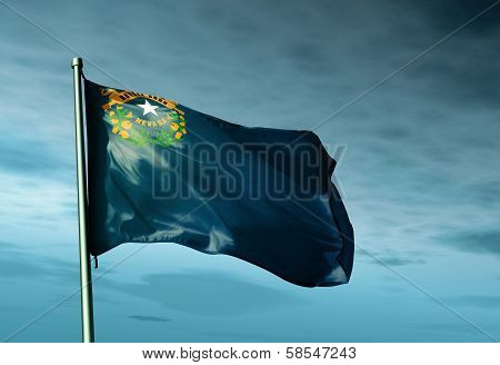 Nevada (USA) flag waving on the wind