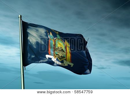 New York (USA) flag waving on the wind