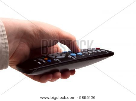 Hand With Tv Remote Isolated
