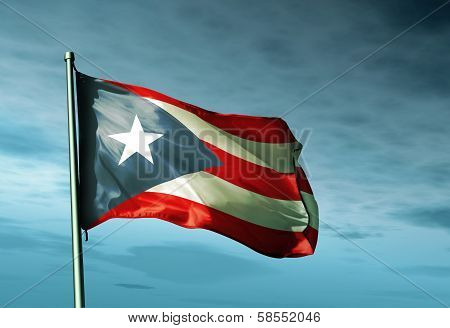 Puerto Rico flag waving on the wind
