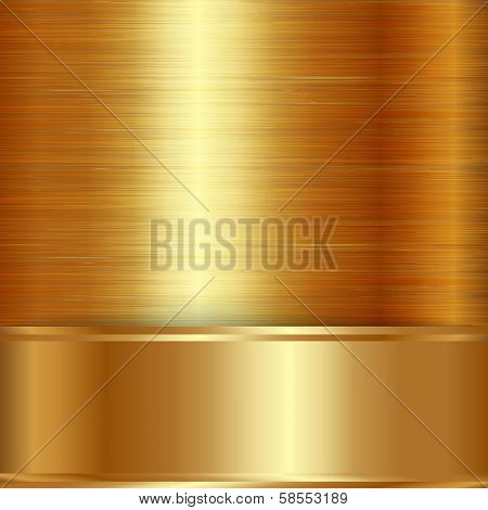 Vector gold  brushed metallic plaque background