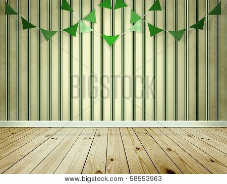Stripe Wallpaper Background With Green Pennants Festoon
