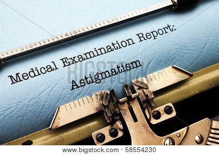 Medical Report - Astigmatism