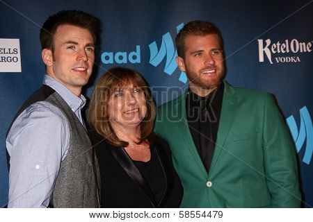 Chris Evans, Lisa Evans, Scott Evans at the 24th Annual GLAAD Media Awards, JW Marriott, Los Angeles, CA 04-20-13