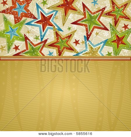 christmas background with stars, vector illustration