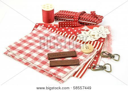 Red Embroidery Set On White Background