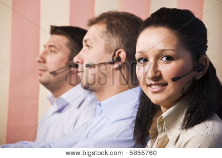 People With Headset In Call Centre