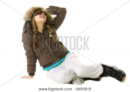 Snowboarder Woman Looking Up