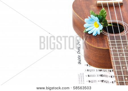 Ukulele And Ukulele Chord Chart Document   On  Right Side On White Background