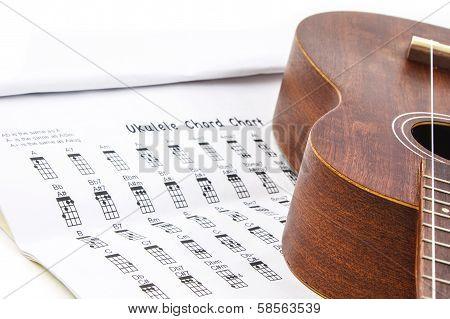 Ukulele And Ukulele Chord Chart Document On White Background