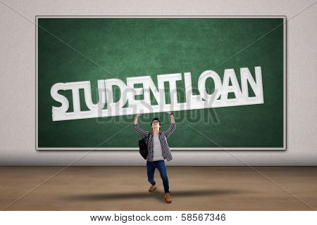 Student Hold A Student Loan Sign