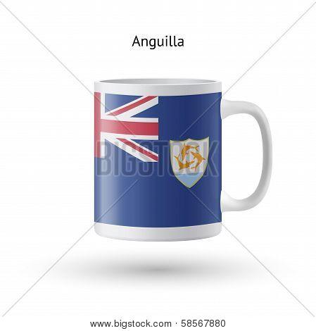 Anguilla flag souvenir mug on white background.
