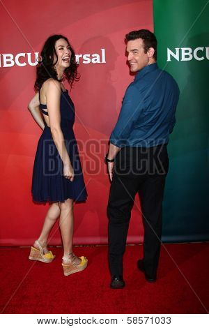 Joanne Kelly, Eddie McClintock at the 2013 NBC Universal Summer Press Day , Langham Huntington Hotel, Pasadena, CA 04-22-13