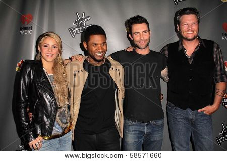 Shakira, Usher, Adam Levine, Blake Shelton at The Voice Season 4 Red Carpet, House Of Blues, West Hollywood, CA 05-08-13