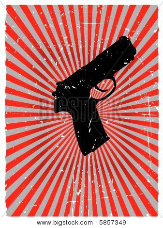 Grunge gun danger red glowing vector background