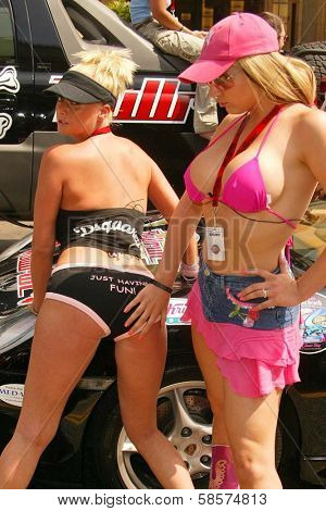 Vicky Thomas and Emily Dean at the Bullrun Rally 2004 in Hollywood, California. 06-05-04