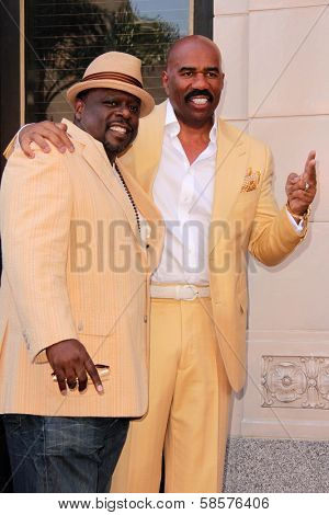 Cedric The Entertainer, Steve Harvey at the Steve Harvey Star on the Hollywood Walk of Fame, Hollyood, CA 05-13-13