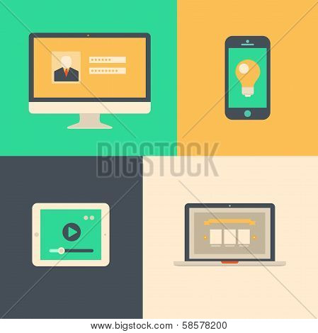 Flat design, tablet phone computer and laptop