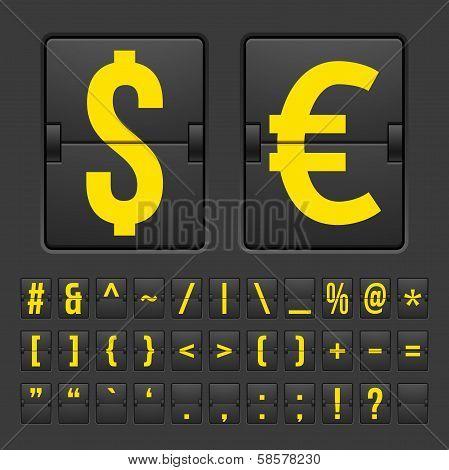 Scoreboard symbols alphabet mechanical panel