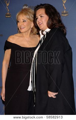HOLLYWOOD - APRIL 28: Barbara Walters and Rosie O'Donnell in the press room at The 33rd Annual Daytime Emmy Awards at Kodak Theatre on April 28, 2006 in Hollywood, CA.