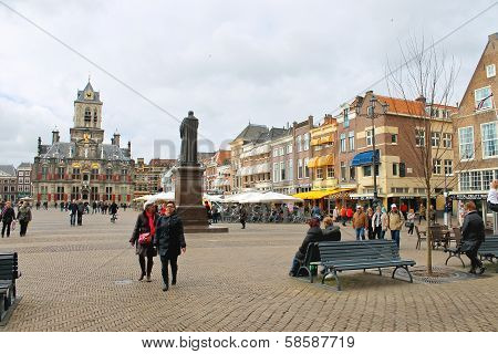 The Central Square  In Delft. Netherlands